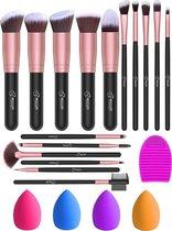 Bestope Make up Kwasten set 16-delig - 4 Beauty blenders - Make up brush set - Foundation kwast - Rosé Goud
