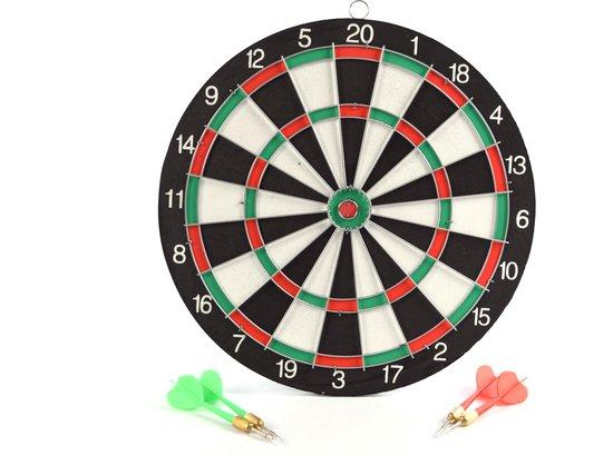 Afbeelding van het spel Dartbord - 28 cm - tweezijdig - met 4darts