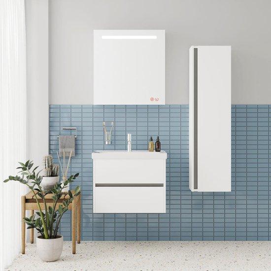 JETTA SET 65 cm Badkamermeubel (Hoogglans Wit) +Wastafel Keramiek+Badkamerspiegel met Led-verlichting