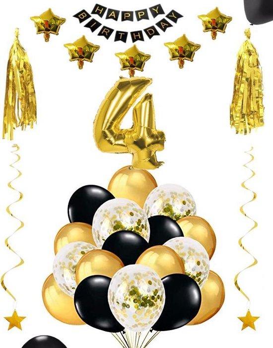 4 jaar verjaardag feest pakket Versiering Ballonnen voor feest 4 jaar. Ballonnen slingers sterren opblaasbaar cijfer 4.