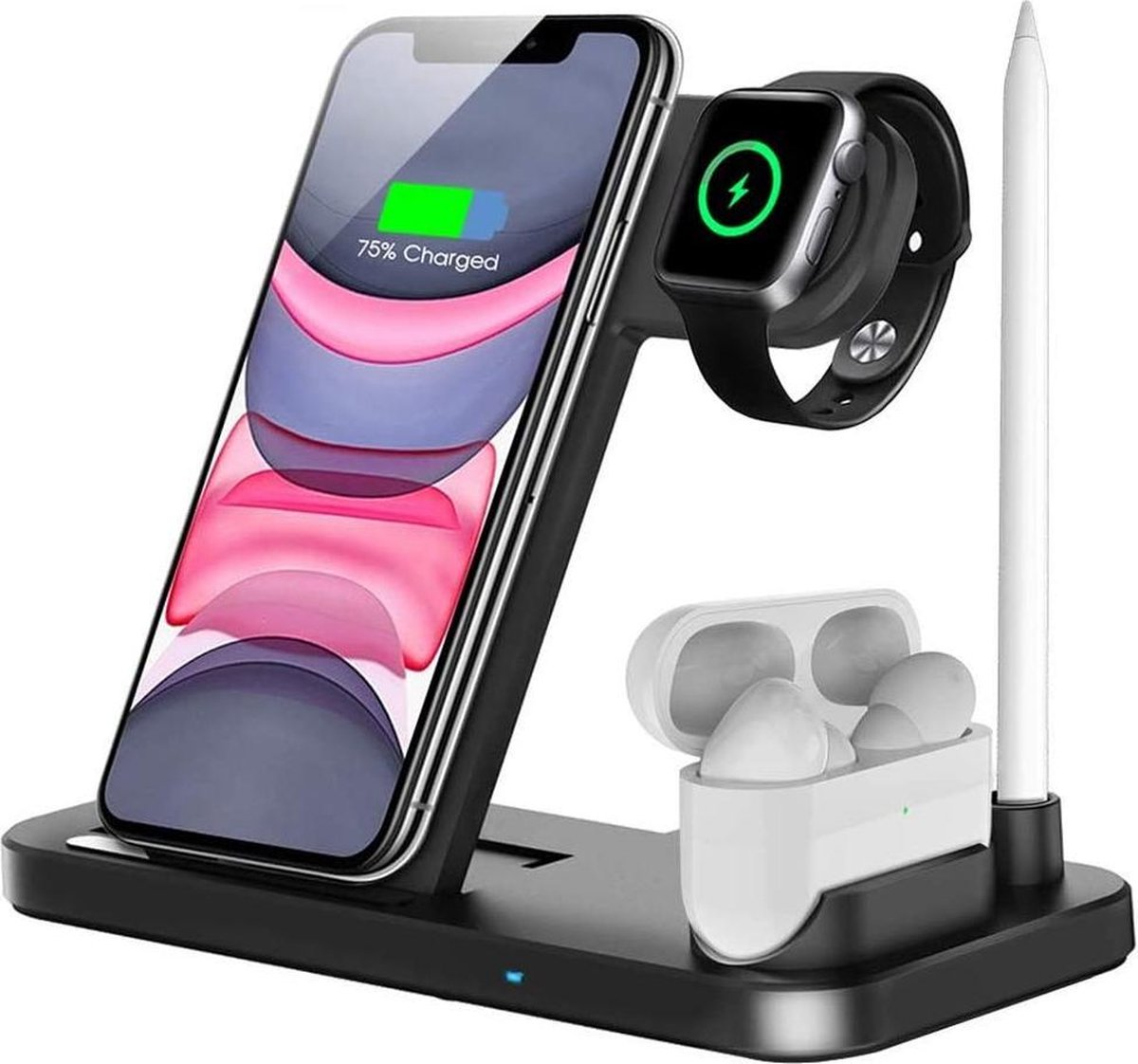 4in1 Oplaadstation – Draadloos – Oplaaddock – Qi Charger Dock – Lader Apple Iphone – Lightning – Apple Watch – Apple Airpods – Android – Samsung USB-C – Micro USB – Laadstation – Laaddock – Qi gecertificeerd – Draadloze Qi lader