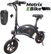 Matrix E Bike B1- Mini-scooter Elektrische vouwfiets - Zwart - 25 km per uur - APP IOS Android - Incl. Stuur tasje