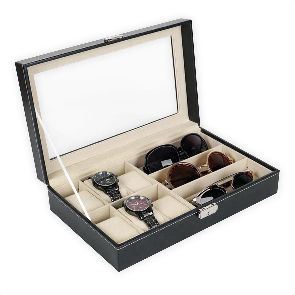 Luxe Brillen Opbergbox - Sieraden Display -  6 Horloge Compartimenten + 3 Brilles Opbergvakken - Con