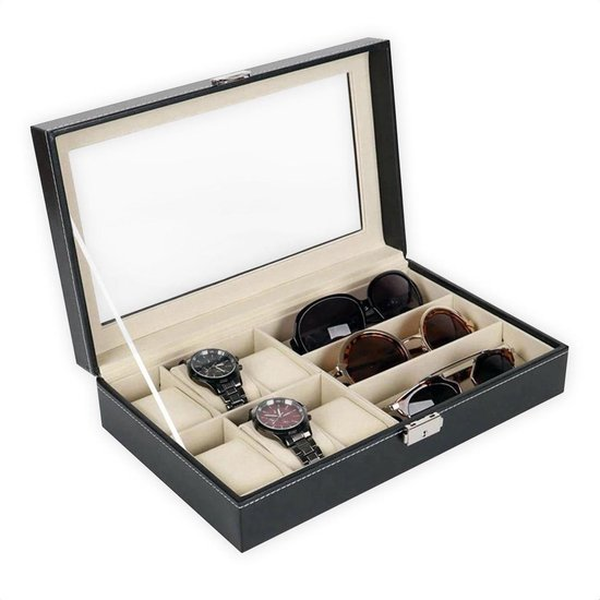 Luxe Brillen Opbergbox - Sieraden Display - 6 Horloge Compartimenten + 3 Brilles Opbergvakken - Confibel Horlogebox - Zwart