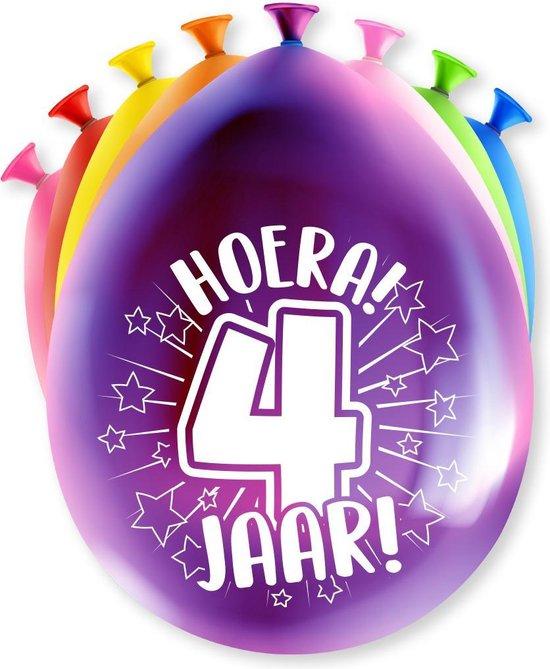 Ballonnen Hoera 4 jaar 8 stuks 30 cm