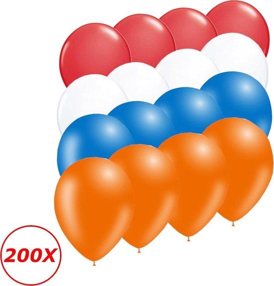 Oranje Versiering Ballonnen Oranje Rode Witte Blauwe EK Koningsdag WK 200 Stuks Feestversiering Verjaardag Ballon