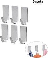 6 stuks - Handdoekhaakjes Zelfklevend - Handdoek Haakjes - Theedoek Haakjes - Haakjes voor Handdoek - Badkamerhaakjes - RVS geborsteld