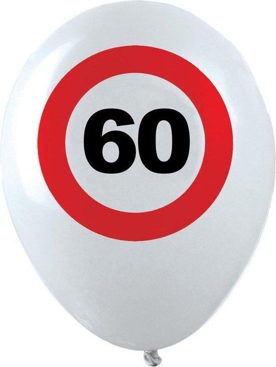 10x stuks Ballonnen 60 jaar verkeersbord versiering, Verjaardag