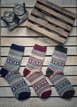 Dames Sokken - Heren Sokken - Set - 3 Paar - Bordeaux - Rood , Groen & Blauw - Vintage - Maat 39-42 - Noorse - Comfortabel & Duurzaam