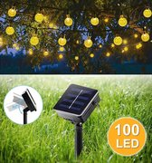 Verlichting Snoer op zonne energie - Solar 100 Led lampjes - 12 meter - Ø2,5 cm Warm Wit Kristal - Buiten en Binnen - Tuinverlichting - Party Lichtslinger - Gadgetpanda