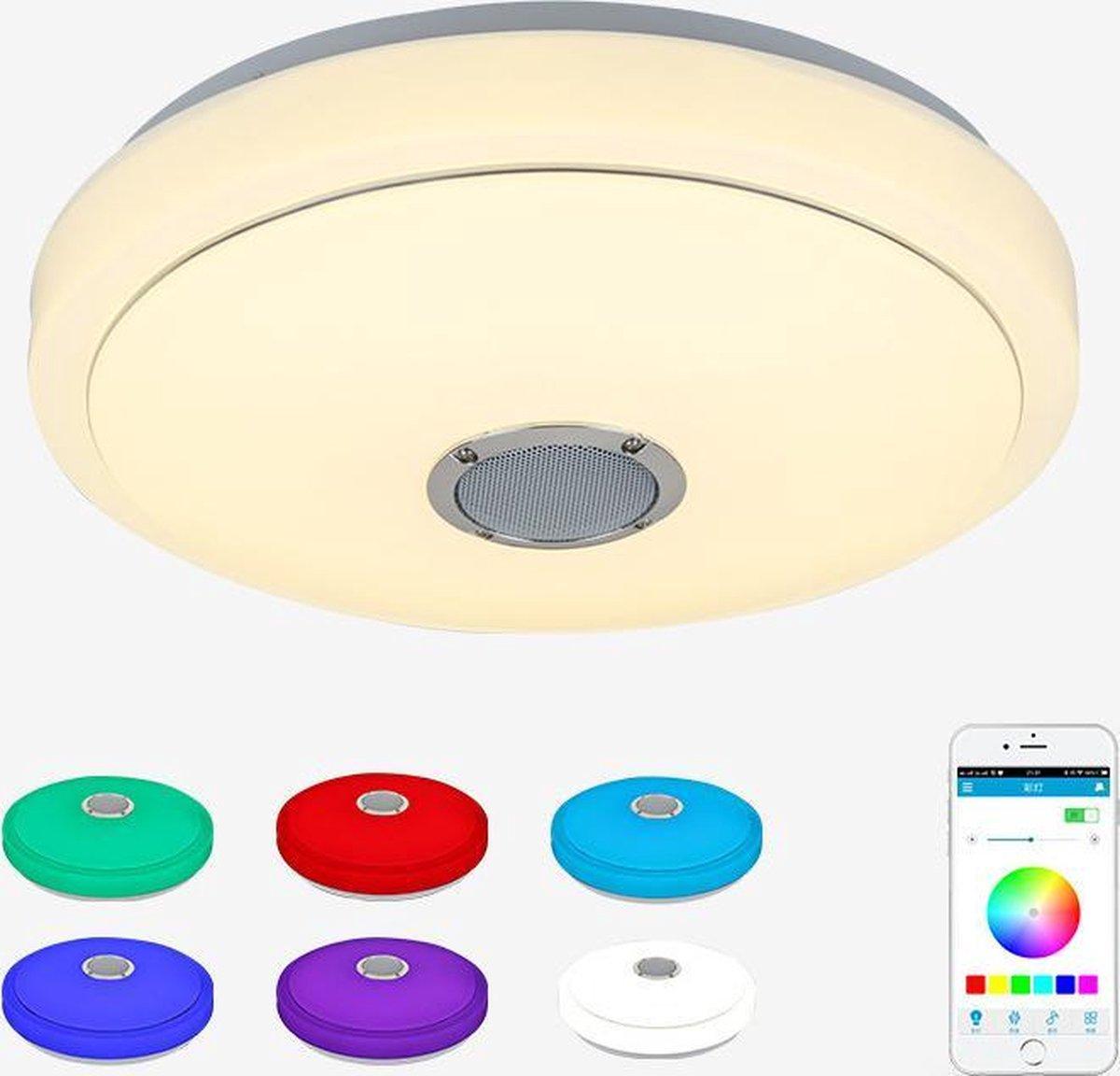 Luxlyght Plafondlamp - Plafoniere - Led Verlichting - Smart Lamp - Nachtlamp - Bluetooth Speaker - RGB 10 Kleuren Licht - Slaapkamer - Incl. Afstandsbediening & App