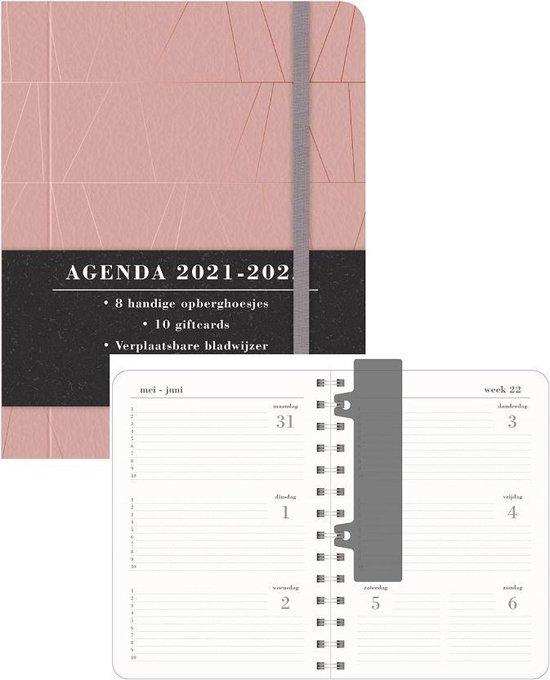 Afbeelding van Hobbit schoolagenda 2021-2022 - ORGANIZER MEDIUM D3 - lederlook - verborgen ringband - 7 dagen over 2 paginas - harde kaft - 144 paginas - oud roze - kleiner dan A5 formaat