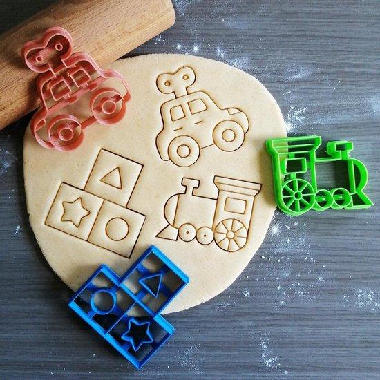 Koekjesvorm | 3-delige set | Baby Speelgoed| Opwind Auto - Trein - Blokken| Cookie cutter | Uitsteekvorm | Bakvorm | 8cm