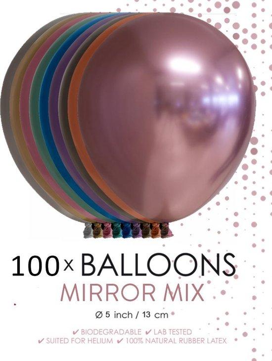100 chrome 5 inch kleine ballonnen assortie.