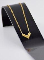 Ketting met bekende V-brand merk gold plated high Quality