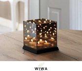Wiwa® -  waxinelichthouder - theelichthouder - spiegelglas met infinity effect - voor 4 theelichtjes - infinity cube - waxinelichtjes - kaars 15x15x16cm