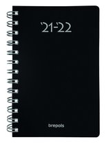 Brepols Schoolagenda 2021-2022 - Polyprop -  Zwart - 11.5 x 16.9 cm - Wire o
