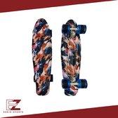 EZRIO SPORTS – Penny Board – Pennyboard – Skateboard – Long Board – Cruiser Skate Board – Penny Board voor Meisjes en Jongens – Verf Print – 22 inch – Blauw – Zwart – Oranje