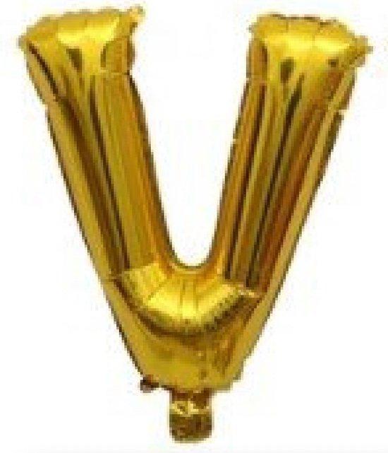 Folieballon / Letterballon Goud  - Letter V - 41cm