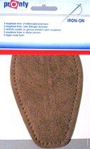 Pronty - 2 opstrijkbare souplesse suede look elleboogstukken licht bruin - pads voor elleboog opstrijkbaar en machinewasbaar