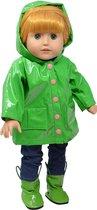 Dolls Green Raincoat - Regenjas met Laarzen voor 46cm Pop
