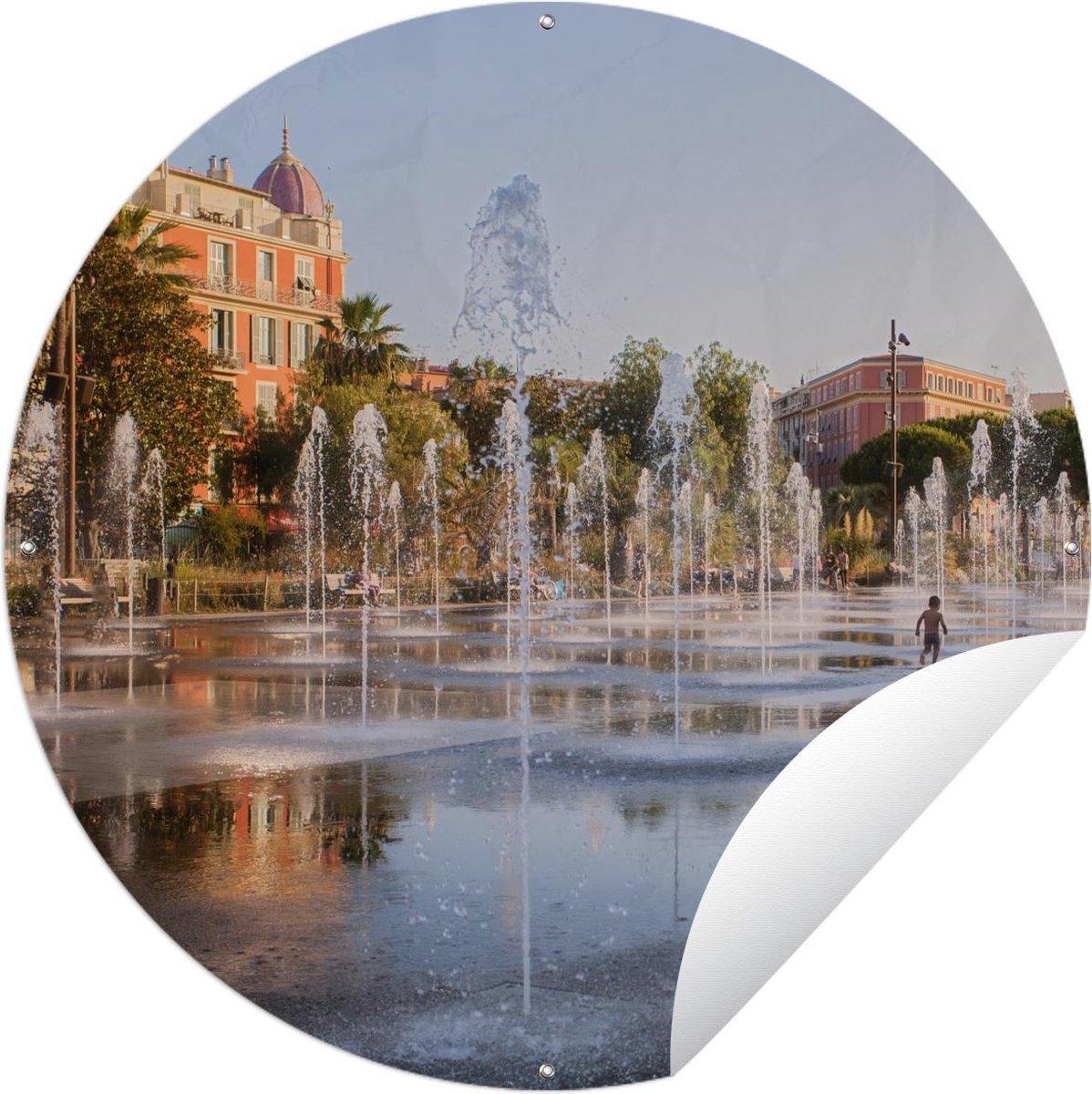 Tuincirkel - Fonteinen op een plein in de Franse stad Nice - 90x90 cm - Tuinposter