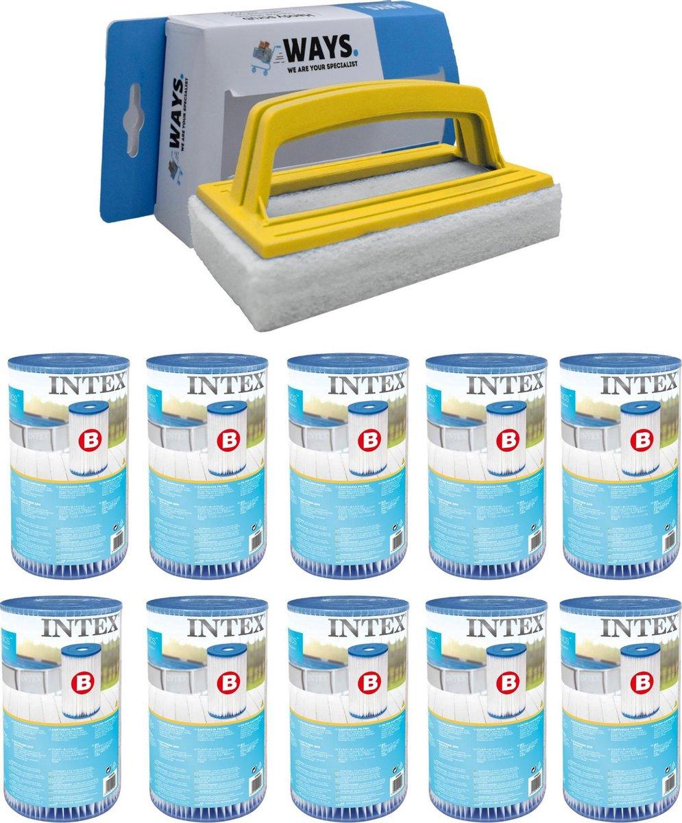 Intex - Filter type B - 10 stuks - Geschikt voor filterpomp 28634GS & WAYS scrubborstel