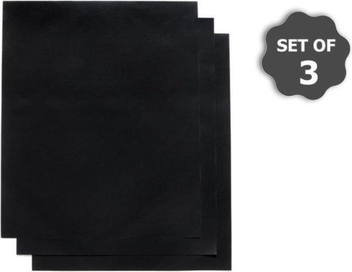 BBQ Grill Mat - 3 stuks -  Grilloppervlak (LxB) 40x33 cm - Met Kwast - Zwart