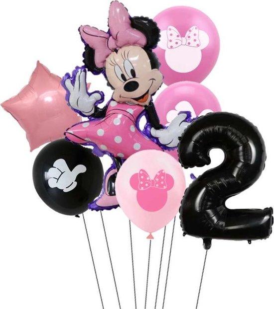 7 stuks ballonnen Minnie Mouse thema - verjaardag - 2 jaar