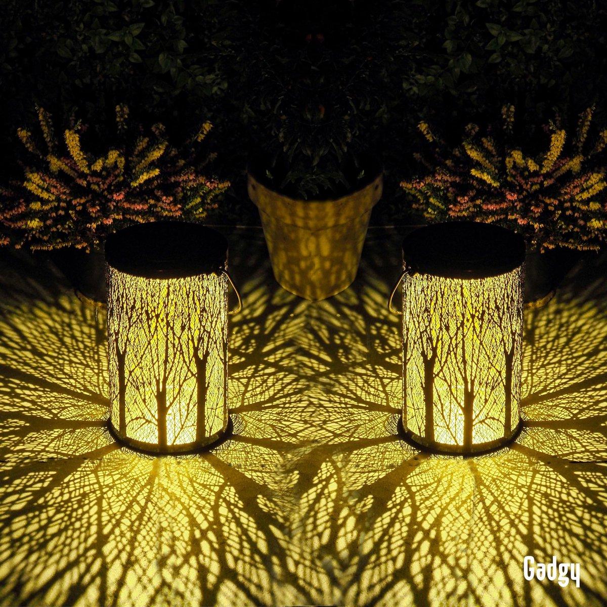 Gadgy Solar Tafellamp Boom set van 2   Zwart/Goud   Metaal - Solar tuinverlichting op zonneenergie