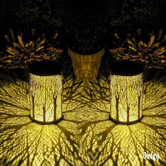 Gadgy Solar Tafellamp Boom set van 2 – Zwart/Goud – Metaal - Solar...