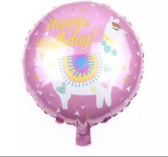 Happy Birthday ballon | Happy Birthday | Ballon | Roze/Wit - lama ballon -folie ballon lama -folie ballon unicorn-unicorn ballon