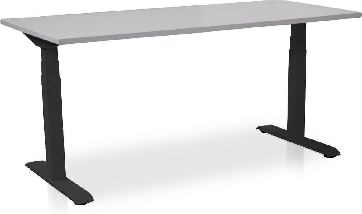 Zit-sta bureau elektrisch verstelbaar - MRC PRO-L | 160 x 80 cm | frame zwart - blad grijs - met kabelmanagement | memory functie met 4 standen | 150kg draagvermogen