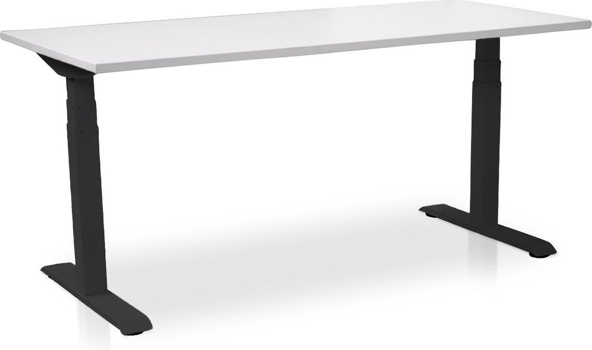 Zit-sta bureau elektrisch verstelbaar - MRC PRO-L | 160 x 80 cm | frame zwart - blad wit | memory functie met 4 standen | 150kg draagvermogen