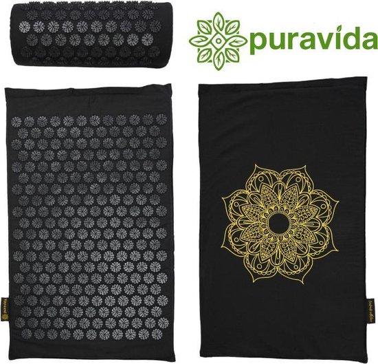 PuraVida Acupressuur mat - Spijkermat - Inclusief kussen - mat - Massage mat - Groot formaat - Volledig pakket - Zwart