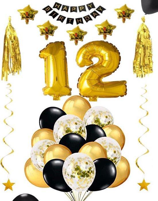 12 jaar verjaardag feest pakket Versiering Ballonnen voor feest 12 jaar. Ballonnen slingers sterren opblaasbare cijfers 12