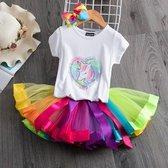 Gekleurde meisje tutu rok - tule meisjes rok en pailletten eenhoorn shirt - Regenboog kleuren meisjes rok - maat 110/116 - meisjes rok 4 - 5 jaar