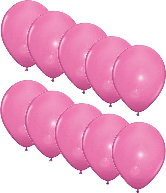 10x stuks Led lampjes/licht ballonnen lichtroze 27 cm - Feestartikelen/versiering