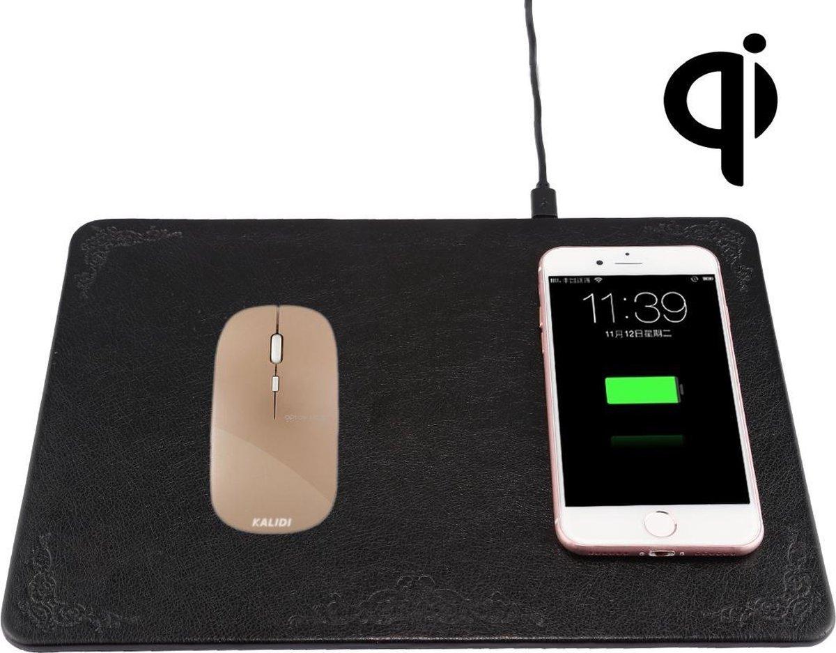 M30 multifunctionele lederen muismat Qi draadloze oplader met USB-kabel, ondersteuning voor Qi standaardtelefoons, afmeting: 260 * 192 * 5 mm, voor iPhone, Galaxy, Huawei, Xiaomi, LG, HTC en andere QI standaard smartphones (zwart)