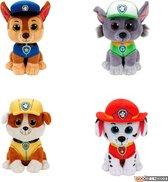 Ty Paw Patrol knuffel 4x zachte knuffels Chase, Marshall, Rubble en Rocky 15 cm collectie met kleurplaat - schattig Kinder poppen speelgoed hondjes Nickelodeon