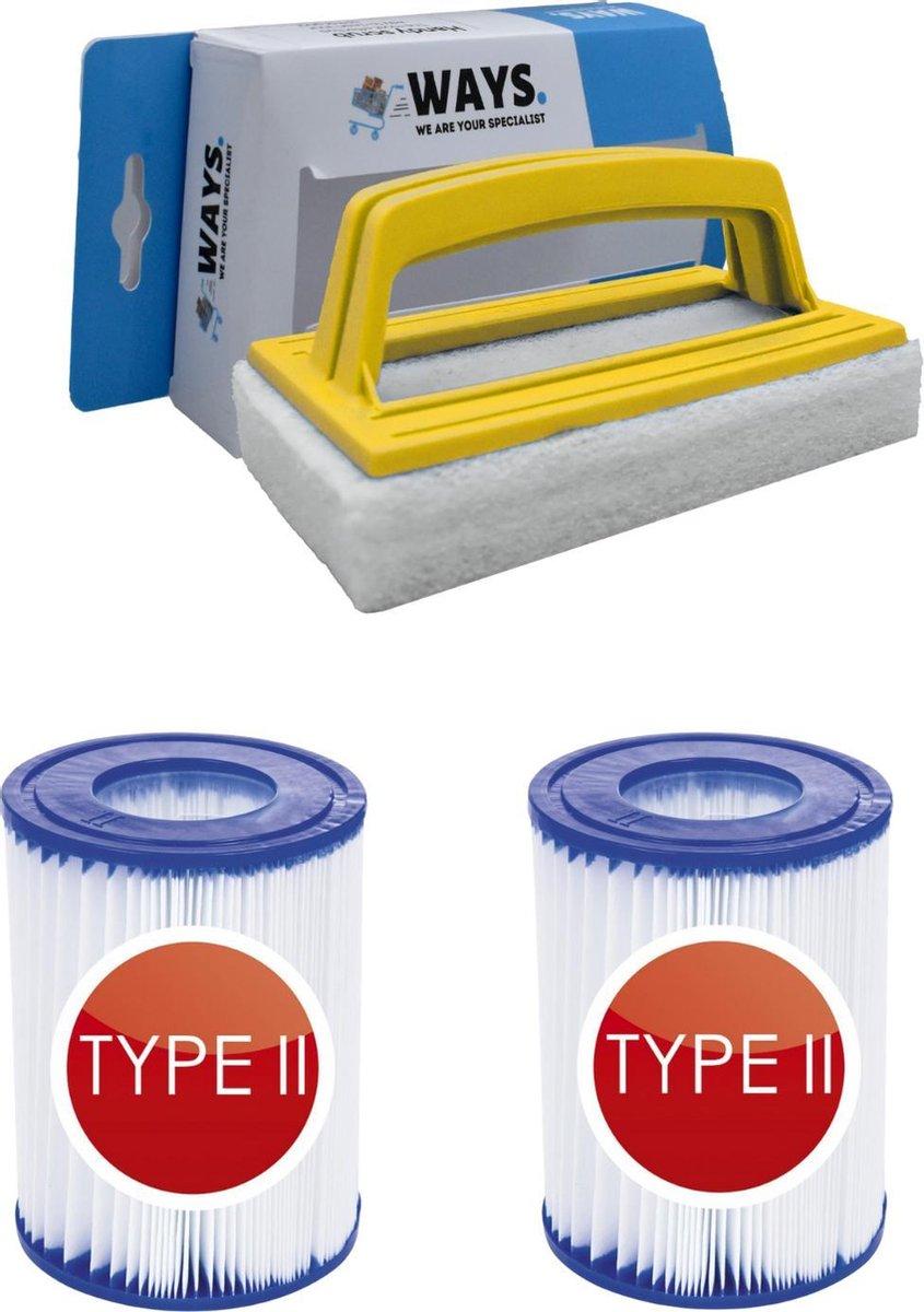 Bestway - Type II filters geschikt voor filterpomp 58383 - 2 stuks & WAYS scrubborstel