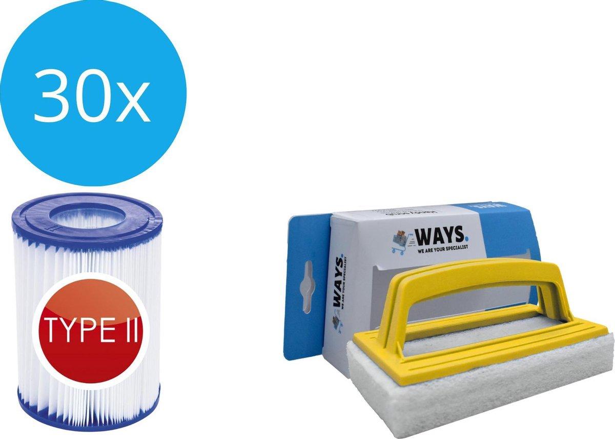 Bestway - Type II filters geschikt voor filterpomp 58383 - 30 stuks & WAYS scrubborstel