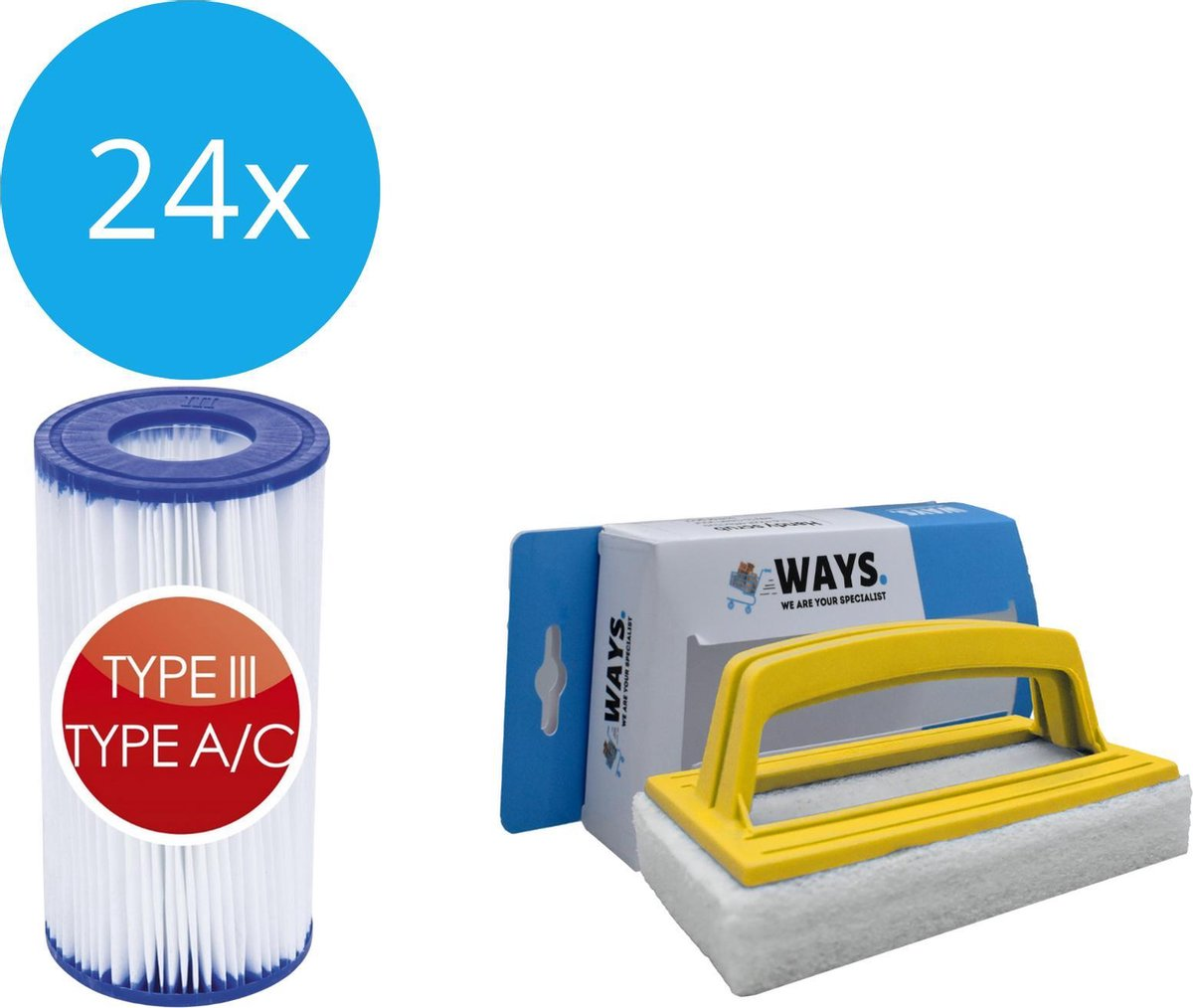 Bestway - Type III filters geschikt voor filterpomp 58389 - 24 stuks & WAYS scrubborstel