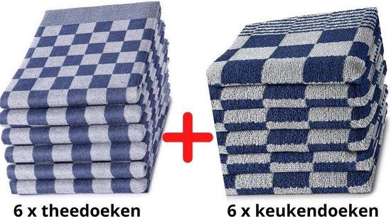 Theedoeken en Keukendoeken Set - 6 Stuks Theedoeken + 6 Stuks Keukendoeken - 100% KATOEN - Blauw Wit - Horecakwaliteit - Sneldrogend - Geblokt - Droomtextiel