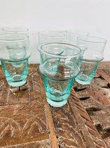 Traditioneel Beldi Glas | Aquamarine| Marokkaanse Gerecycled Glas | Set van 6