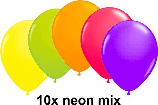 Neon ballonnen, assorti  kleuren, 10 stuks, 25 cm