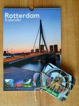 Combi deal - Verjaardagskalender met 6 aluminium onderzetters - Stad Rotterdam