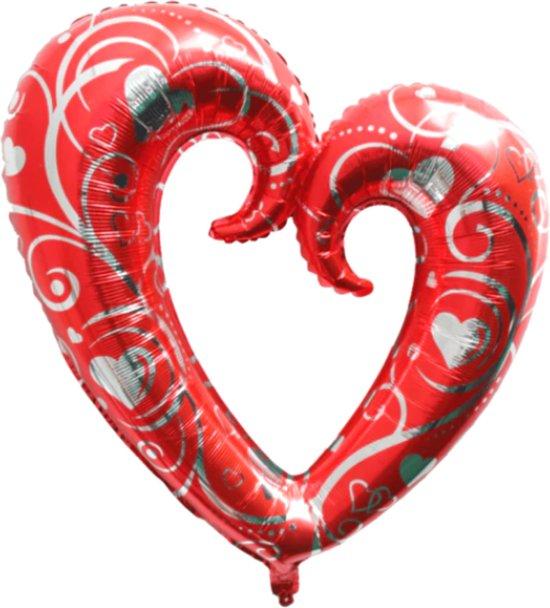 Hart Ballon - XL JUMBO Groot - 110 cm - Rood & Zilver - Folieballon - Ballonen Verjaardag - Romantische Versiering - Valentijn - Huwelijk - Verloving - Bruiloft - Jubileum