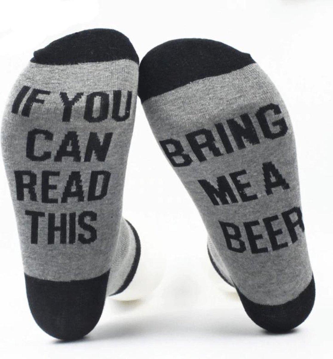Grappige sokken - Bring me Beer - one size - cadeau mannen - huissokken - Vaderdag kados - verjaarda