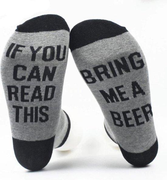 Grappige sokken - Bring me Beer - one size - cadeau mannen - huissokken - Vaderdag kados - verjaardag - bier sokken - geschenk vader - papa